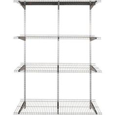 Rubbermaid FastTrack 4-Shelf 16 in. x 48 in. Silver Metallic Wire Shelves with 47 in. Upright and Extension with Rail Kit-1937547 - The Home Depot