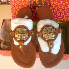 Tory Burch Miller 2 thong sandals NIB brandnew, never been worn.  Size 10. Made in Brazil. Tory Burch Shoes Sandals