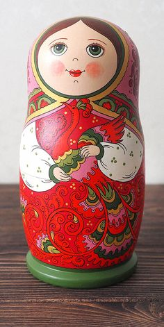 Russian matryoshka box. Babushka russian doll wooden box. Hand