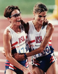 OLYMPIC STRENGTH 💪  Lynn Jennings and Judi St. Hilaire after the 10,000 meter final Barcelona '92 Olympics #STANDTALL #GOTEAMUSA  20% off ALL men's & women's Foundation 2.0 Tees Code: GOFORGOLD 🏅