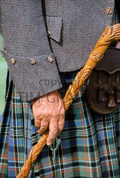 Traditional Scottish kilt and tweed jacket, sporran and stick at the Braemar Royal Highland Gathering, the Braemar Games in Scotland - Photo by Tim Graham Scottish Man, Scottish Culture, Scottish Kilts, Scottish Tartans, Wooden Walking Sticks, Walking Sticks And Canes, Walking Canes, Scotland Men, Wood Carving For Beginners