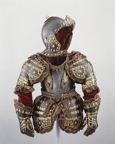 This royal armor, possibly the last made in Europe, is believed to have been presented to the five-year-old Infante Luis (1701–1724), prince of Asturias, by his great-grandfather Louis XIV of France (1638–1715, r. from 1643). Luis was the first Spanish-born Bourbon heir to the throne of Spain and ruled briefly as Luis I in 1724.