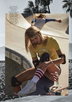 "Glamour's  ""L.A. Skate of Mind"" sory (May/June 2016) features the Stripe Knee High Sock  and the Running Short"