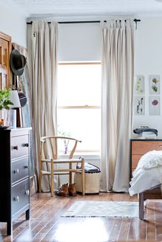 Curated Style in a Brooklyn Brownstone – Design*Sponge Home Bedroom, Bedroom Decor, Bedrooms, Rattan Armchair, Brooklyn Brownstone, Living Spaces, Living Room, Apartment Living, Home And Living