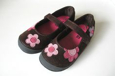 Toddler Girl's SmartFit Brown Mary Jane Shoes with flowers Size 9 #Smartfit #DressShoes