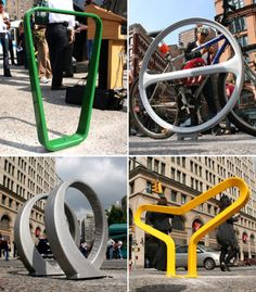 Once an afterthought, bicycle storage racks, hooks and devices are now seen as part of a home's decor and as public sculpture on city sidewalks. More than