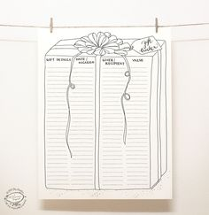 DOODLE Gift Tracker / Party Planner / Organizer Printable