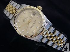 Rolex Two-tone 18k Gold/ss Datejust Date Watch W/diamonds