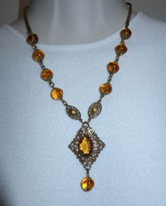 VTG ANTIQUE CZECH WIRED BRASS FILIGREE AMBER GLASS NECKLACE #Unbranded #Collar