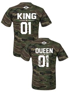 Couples shirts, KING and QUEEN couple t-shirts ★ the CAMO COLLECTION ★ Camo tshirts, King Queen 01 tshirts, matching shirts for couples, pärchen t-shirts, Paar T-shirts
