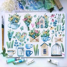 Рисовала на одном дыхании. Все таки весна и близящееся лето - неиссякаемый источник вдохновения. Попробую сделать стикеры ( на этот раз точно!), а еще картинку можно будет найти на креативмаркете, а к ней - паттерны, веночки и букеты