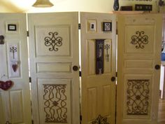 Old doors, antiqued and made into a room divider.