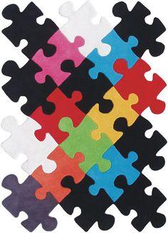 Puzzle rug, jigsaw rug for boys nursery / room