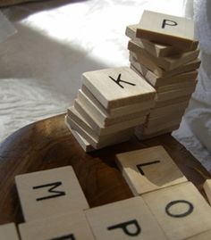 """3.99 SALE PRICE! 3/4"""" Wood Alphabet Tiles 60 pieces.. These Scrabble-like blocks are 3/4"""" square x 1/8"""" thick and made of varnished wood. Le..."""
