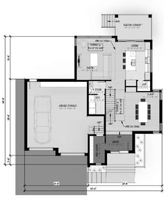 plan c-105 Modern Contemporary Homes, Contemporary Architecture, Architecture Design, Evolution Architecture, Flat Roof House, Container House Plans, Construction, House Floor Plans, House Design