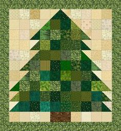 "Christmas Tree Quilt pattern - © Janet Wickell. Wall hanging version is 29 x 31 1/2"". Need lots of green scraps!"