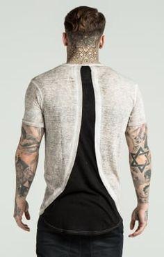 SikSilk Rebirth Burnout Curved Hem Tee - Grey & Black