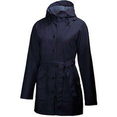 Helly Hansen Women's Kirkwall Rain Coat ($125) ❤ liked on Polyvore featuring outerwear, coats, navy, navy raincoat, navy coat, navy blue raincoat, mac coat and helly hansen