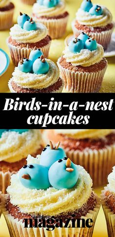 Decorate these coconut cupcakes with cute bluebirds made from ready-to-roll icing. Get the Sainsbury's magazine recipe Cookies Cupcakes And Cardio, Baking Cupcakes, Cupcake Recipes, Easter Cupcakes, Fun Cupcakes, Coconut Icing, Coconut Cupcakes, How To Make Wedding Cake, Easter Recipes