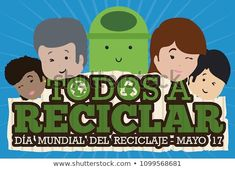 Commemorative banner with people of all ages and races with a cute bin promoting recycling activities in the International Recycling Day (written in Spanish) in May Spanish, Recycling, Royalty Free Stock Photos, Banner, Family Guy, Racing, Age, Activities, Illustration