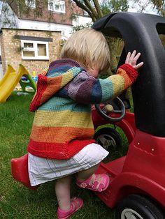 Holly Rainbow Hoodie - Ravelry: Holly Rainbow Hoodie pattern by Melody Blackburn - Jumper Knitting Pattern, Hoodie Pattern, Baby Knitting Patterns, Knitting Ideas, Baby Sweaters, Girls Sweaters, Rainbow Sweater, Ravelry, Baby Cardigan