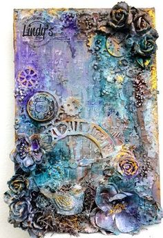Solange Marques: Clocks and Flowers- Mixed Media Canvas