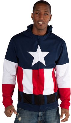 Captain America Costume Hoodie.  Love this, but I would look like the biggest idiot wearing it.  Sigh.