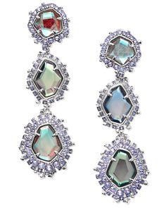 61a7c834f Aria Navy Gunmetal Statement Earrings in Indigo Dichroic Glass | Kendra  Scott