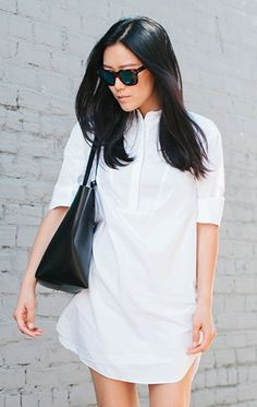 Not a fan of floral dresses? Go for a minimal chic look with a classic white shirt dress.