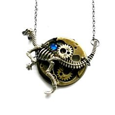 Hey, I found this really awesome Etsy listing at https://www.etsy.com/listing/257825474/steampunk-dinosaur-necklace-clockwork