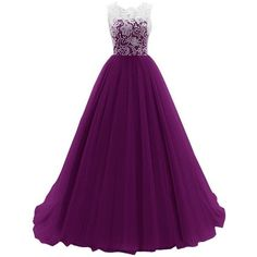 JY Women's Ruched Sleeveless Lace Long Evening Dress Prom Gown (€56) ❤ liked on Polyvore featuring dresses, gowns, formal dresses, purple lace dress, long lace dress, prom dresses and long prom dresses