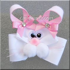 Pink Bunny Hair Bow Easter Hair Bow Bunny Hair Clip Rabbit Hair Bow. $7.50, via Etsy.