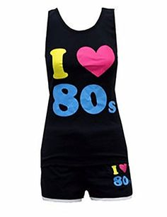 Womens I Love 80s Black Vest & Shorts Set Best 80s Costumes, 80s Workout, Ladies Fancy Dress, Black Vest, Dance Outfits, Fitness Fashion, Tights, Shorts, Lady