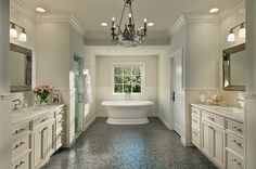 Bathroom--really like this. would like {at least} one side to have a vanity too.