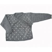 Baby wrap cardigan in grey cashmere by Anne-Claire Petit. Get it at www.PULLAH.com