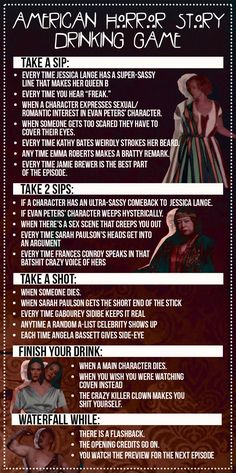 "The ""American Horror Story"" Drinking Game You've Always Needed--Can't wait for #FreakShow"