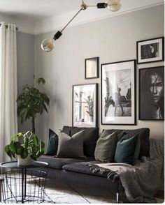 Gray Living Rooms Ideas - For beautiful gray living-room ideas, counter light gray wall surfaces with dark gray shelving Living Room Green, Room Design, Couches Living Room, Interior Design Living Room, Interior, Living Room Lighting, Living Room Grey, Living Room Designs, Gray Living Room Design