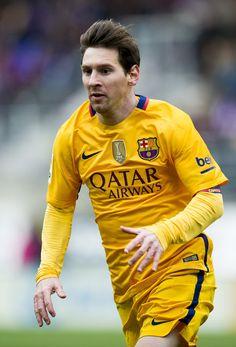 Lionel Messi of FC Barcelona reacts during the La Liga match between SD Eibar and FC Barcelona at Ipurua Municipal Stadium on March 6, 2016 in Eibar