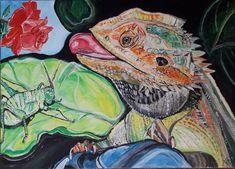 Echse mit Schrecke, Eidechse, Acrylmalerei, Acrylicpainting (50 x 70 cm) Juli 2018 Dinner For One, Painting, Art, Art Background, Painting Art, Kunst, Paintings, Performing Arts, Painted Canvas