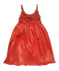Another great find on #zulily! Orange Pearl Rosette Dress - Toddler & Girls by Mini Treasure Kids #zulilyfinds