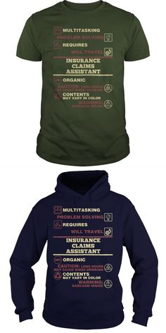 INSURANCE CLAIMS ASSISTANT  Guys Tee Hoodie Sweat Shirt Ladies Tee Guys V-Neck Ladies V-Neck Unisex Tank Top Unisex Longsleeve Tee Nationwide Insurance T-shirts Insurance Broker Shirts Insurance Coordinator T Shirt Nationwide Insurance T Shirt
