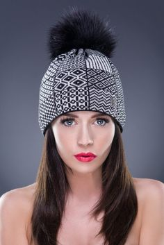 Mixed Pattern Beanie with Faux Fur PomPom