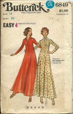 Butterick 6849 Misses Lounge Dress Pattern by DawnsDesignBoutique, $14.99