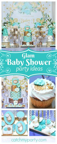 Check out this glamorous Baby Shower. The cake is incredible!! See more party ideas and share yours at CatchMyParty.com