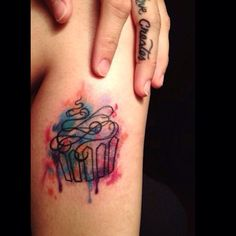 On my calf. (On the side). Cupcake fever! #watercolor