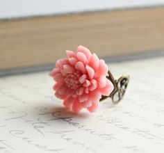 Chrysanthemum Flower Ring, Pretty in Pink, Large Flower Ring, Pastel Pink, Rose Pink, Adjustable Filigree Ring on Etsy, $21.48 AUD