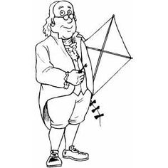 Benjamin Franklin With Kite coloring page