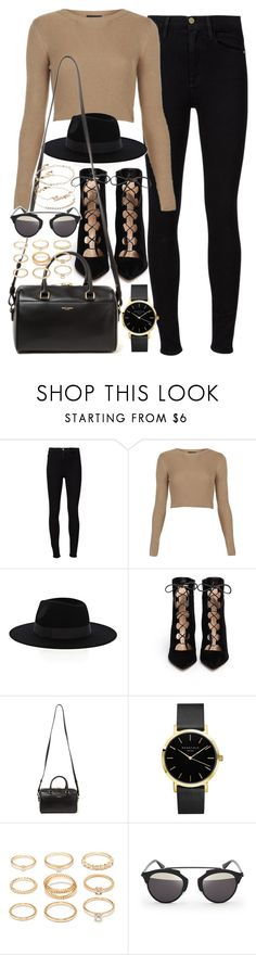 """Outfit for a casual night out"" by ferned ❤ liked on Polyvore featuring Frame, Topshop, Warehouse, Gianvito Rossi, Yves Saint Laurent, ROSEFIELD, Forever 21, Christian Dior and ASOS"