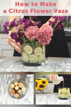Make a Citrus Flower Vase! Here's what you'll need: wine corks, a glass vase, and citrus slices.  Simply line the bottom of the vase with wine corks and decorate the sides of the vase with lime slices. Be ready for a charming result!