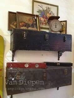 Shelves made from old tool box. Can put things imside of the box!